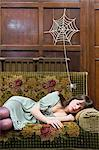 A spider and a teenage girl sleeping Stock Photo - Premium Royalty-Free, Artist: Aflo Relax, Code: 6114-06594254