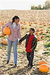 A boy and his grandmother in a field of pumpkins Stock Photo - Premium Royalty-Free, Artist: Cultura RM, Code: 6114-06594576