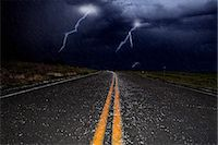 storm lightning - Lightning and hail on a road Stock Photo - Premium Royalty-Freenull, Code: 6114-06594922