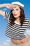 Young woman in sailor hat looking away Stock Photo - Premium Royalty-Free, Artist: Robert Harding Images, Code: 6114-06597346