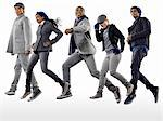 Five young people in coats jumping Stock Photo - Premium Royalty-Free, Artist: gemenacom                     , Code: 6114-06597523