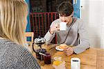 Young couple having breakfast Stock Photo - Premium Royalty-Free, Artist: Aflo Relax, Code: 6114-06597617