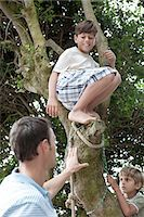 Father and boys climbing tree Stock Photo - Premium Royalty-Freenull, Code: 6114-06598185