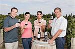 People raising glasses of wine at vineyard Stock Photo - Premium Royalty-Free, Artist: Blend Images, Code: 6114-06598491