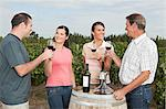 People wine tasting at vineyard Stock Photo - Premium Royalty-Free, Artist: Blend Images, Code: 6114-06598554