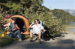 Couple camping in great outdoors Stock Photo - Premium Royalty-Free, Artist: ableimages, Code: 6114-06598580