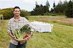 Man in field with basket of produce and table in background Stock Photo - Premium Royalty-Free, Artist: Robert Harding Images, Code: 6114-06599858