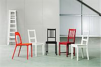 five - Five chairs in a warehouse Stock Photo - Premium Royalty-Freenull, Code: 6114-06600458
