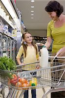 Mother and daughter getting milk in supermarket Stock Photo - Premium Royalty-Freenull, Code: 6114-06600689