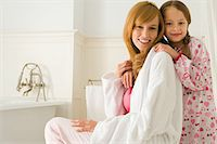 Mother and daughter in the bathroom Stock Photo - Premium Royalty-Freenull, Code: 6114-06603171