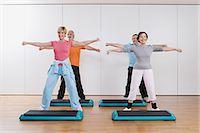 fitness older women gym - Step aerobics class Stock Photo - Premium Royalty-Freenull, Code: 6114-06604421