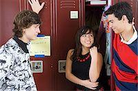 flirting - Girl and boys by lockers Stock Photo - Premium Royalty-Freenull, Code: 6114-06605018