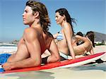 Friends on beach with surfboards Stock Photo - Premium Royalty-Free, Artist: Cultura RM, Code: 6114-06605443