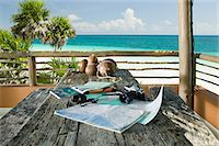 exotic outdoors - Equipment on a table in paradise Stock Photo - Premium Royalty-Freenull, Code: 6114-06606048
