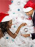Couple decorating christmas tree Stock Photo - Premium Royalty-Free, Artist: Blend Images, Code: 6114-06606253