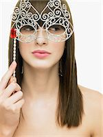 Woman with eye mask Stock Photo - Premium Royalty-Freenull, Code: 6114-06606337
