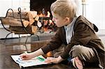 Boy drawing Stock Photo - Premium Royalty-Free, Artist: ableimages, Code: 6114-06606655
