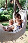Mother and sons in hammock Stock Photo - Premium Royalty-Free, Artist: Blend Images, Code: 6114-06607042