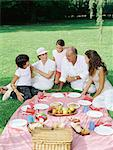 Children having a picnic with their grandparents Stock Photo - Premium Royalty-Free, Artist: Blend Images, Code: 6114-06607468