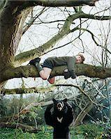 Boy climbing a tree to escape bear Stock Photo - Premium Royalty-Freenull, Code: 6114-06607765