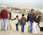 Family walking along beach Stock Photo - Premium Royalty-Free, Artist: ableimages, Code: 6114-06608371