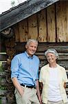 Senior couple by log cabin Stock Photo - Premium Royalty-Free, Artist: Janet Foster, Code: 6114-06609167