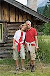 Couple by log cabin Stock Photo - Premium Royalty-Free, Artist: Cultura RM, Code: 6114-06609169