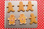 Gingerbread men on a baking tray Stock Photo - Premium Royalty-Free, Artist: Cultura RM, Code: 6114-06609265