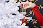 Woman holding christmas decoration Stock Photo - Premium Royalty-Free, Artist: Robert Harding Images, Code: 6114-06609310