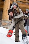Couple having fun in the snow Stock Photo - Premium Royalty-Free, Artist: F. Lukasseck, Code: 6114-06609691