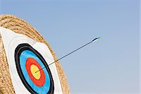 Arrow in archery target Stock Photo - Premium Royalty-Freenull, Code: 6114-06610217