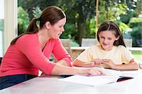 Mother helping daughter with homework Stock Photo - Premium Royalty-Freenull, Code: 6114-06610767