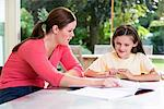 Mother helping daughter with homework Stock Photo - Premium Royalty-Free, Artist: CulturaRM, Code: 6114-06610767