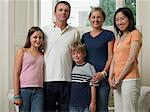 English family with japanese exchange student Stock Photo - Premium Royalty-Free, Artist: Blend Images, Code: 6114-06610804