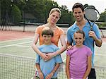 Family on a tennis court Stock Photo - Premium Royalty-Free, Artist: Blend Images, Code: 6114-06611897