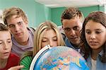 School students looking at a globe Stock Photo - Premium Royalty-Free, Artist: Uwe Umsttter, Code: 6114-06612144