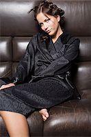 silky - Woman in black pyjamas Stock Photo - Premium Royalty-Freenull, Code: 6114-06612718