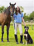 Woman with horse and dog Stock Photo - Premium Royalty-Free, Artist: Kathleen Finlay, Code: 6114-06612828