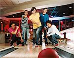 Group of young men bowling Stock Photo - Premium Royalty-Free, Artist: CulturaRM, Code: 6114-06613252