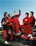 Men celebrating at race track Stock Photo - Premium Royalty-Free, Artist: ableimages, Code: 6114-06613258