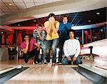 Group of young men bowling Stock Photo - Premium Royalty-Free, Artist: Robert Harding Images, Code: 6114-06613273