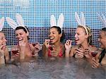 Five women in hot tub Stock Photo - Premium Royalty-Free, Artist: Cultura RM, Code: 6114-06613386