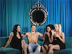 Three women and stripper Stock Photo - Premium Royalty-Free, Artist: CulturaRM, Code: 6114-06613427
