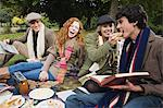 Four friends having a picnic Stock Photo - Premium Royalty-Free, Artist: Cultura RM, Code: 6114-06613501