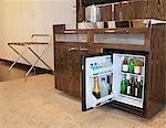 A full mini bar in a hotel room Stock Photo - Premium Royalty-Free, Artist: Glowimages               , Code: 6106-06614548