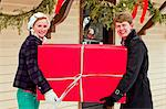 Two young friends with a large wrapped gift. Stock Photo - Premium Royalty-Freenull, Code: 6106-06614769