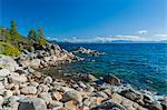 Rocky shore, Lake Tahoe, USA Stock Photo - Premium Royalty-Freenull, Code: 6106-06614823
