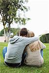 Rear view of young couple with arms around sitting at park Stock Photo - Premium Royalty-Freenull, Code: 698-06615976