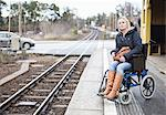 Disabled woman in wheelchair waiting for the train at railway station Stock Photo - Premium Royalty-Free, Artist: Blend Images, Code: 698-06616008