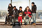 Portrait of young woman with multi ethnic friends using mobile phones on bench Stock Photo - Premium Royalty-Freenull, Code: 698-06616245